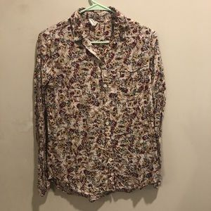 Beachlunchlounge floral blouse long sleeve small